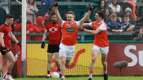 Armagh substitute Mark Shields celebrates his second-half goal against Down on Sunday