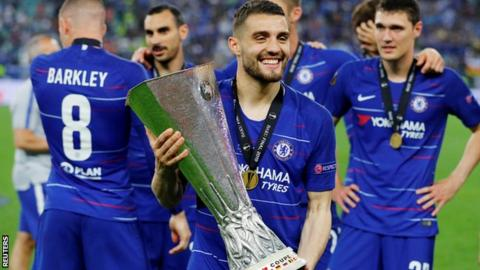 Mateo Kovacic with the Europa League trophy
