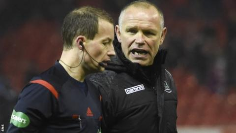 Inverness CT boss John Hughes talks to referee Willie Collum at the final whistle