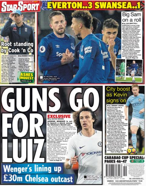 Arsenal are lining up a move for David Luiz, reports the Daily Star