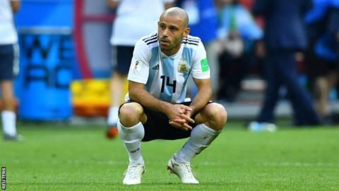 Argentina defender Javier Mascherano reacting to the defeat to France