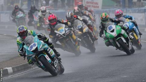 Alastair Seeley leads the Supersport race at the North West 200