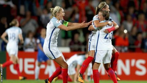 England players celebrate quarter-final win over France in 2017