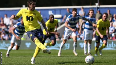 Danny Graham scores Blackburn's opening goal at QPR from the penalty spot