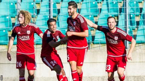 Aberdeen fell behind to Samir Hadji's (centre) goal just before half-time