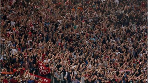 Liverpool fans against AS Roma