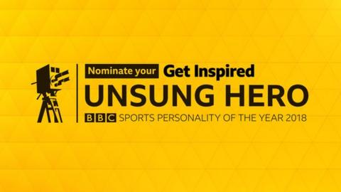 2018 Unsung Hero graphic - black text on a yellow background and an image of an old style BBC motion camera