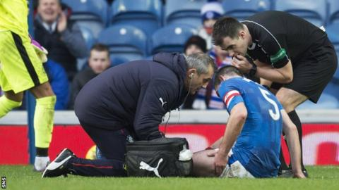 Lee Wallace receives treatment after suffering an injury against ICT