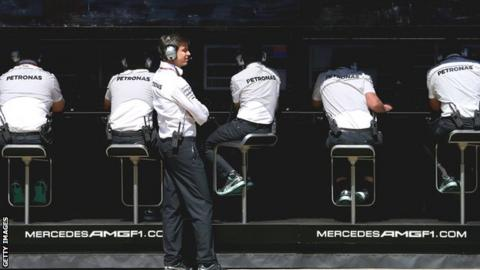 Mercedes pit wall