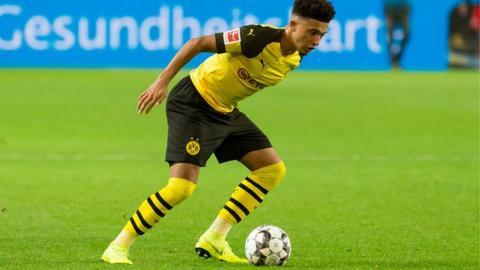 Jadan Sancho in action for Borussia Dortmund