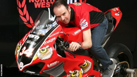 Alastair Seeley gets a feel of the V4 Ducati at the announcement of his deal with the PBM team