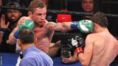 Frampton lands a punch in the Texas fight against Alejandro Gonzalez