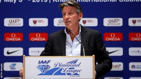 Lord Coe speaking at a news conference