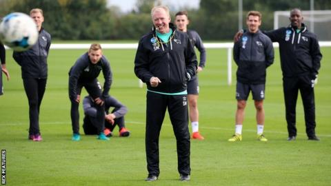 Steve McClaren takes training on his return to Derby