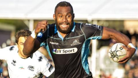 Leone Nakarawa runs away to score a try for Glasgow in his final game at Scotstoun