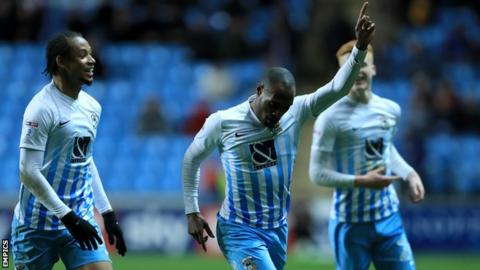 Kyel Reid celebrates Coventry's first goal against Port Vale