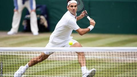 Roger Federer plays at Wimbledon