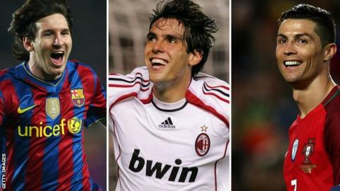 Lionel Messi, Kaka and Cristiano Ronaldo