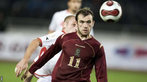 James McFadden playing for Scotland against Georgia in 2007