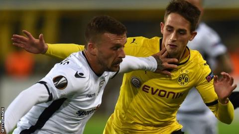 Giannis Skondras in action for PAOK against Borussia Dortmund