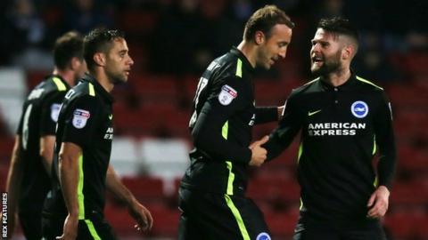 Brighton players celebrate goal