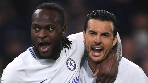 Victor Moses and Pedro celebrate