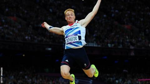 Greg Rutherford in action during the long jump at the 2012 Olympics in London