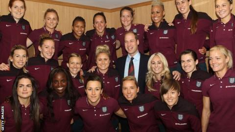 Prince William, Duke of Cambridge, visits the England Women Senior Team at The National Football Centre in May