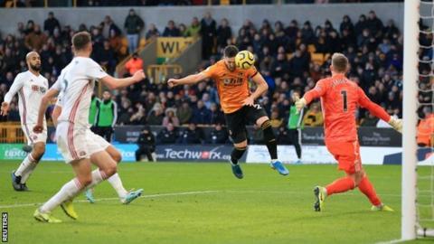 Northern Ireland Matt Doherty scores from Raul Jimenez's cross
