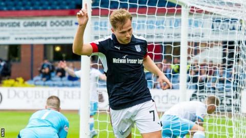 Greg Stewart celebrates against Forfar