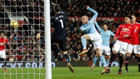 David Silva scores against Mancherster United