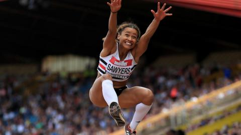 Jazmin Sawyers of Great Britain competes in the women's long jump final during day two of the Muller British Athletics Championships at the Alexander Stadium on July 1, 2018 in Birmingham, England. (Photo by Stephen Pond - British Athletics/Getty Images)