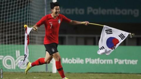 South Korea's Son Heung-min in action during the gold medal match against Japan at the Asian Games
