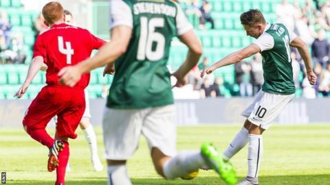 Hibernian midfielder Scott Allan scoring against Montrose