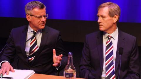 Rangers managing director Stewart Robertson and chairman Dave King at the club's 2017 annual general meeting