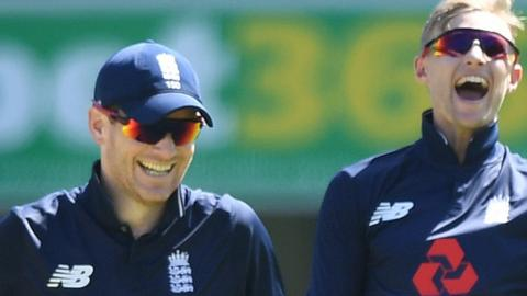 England captain Eoin Morgan (left) with Test skipper Joe Root