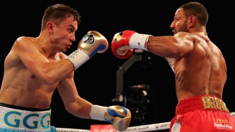 Gennady Golovkin beat Kell Brook with a fifth-round stoppage to retain his WBC and IBF middleweight titles.