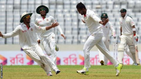 Bangladesh players celebrate beating Australia