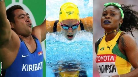 Jamaican sprinter Elaine Thompson, Australian swimmer Emma McKeon and Kiribati weightlifter David Katoatau.