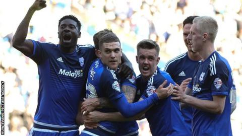Cardiff City celebrate Stuart O'Keefe's goal against Derby