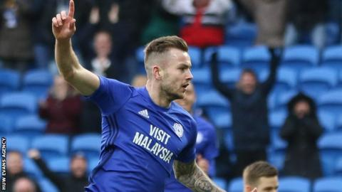 Joe Ralls celebrates his goal, Cardiff's second against Sunderland