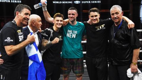 Shane McGuigan, second right, trained Josh Taylor to world title success and a 16-0 record