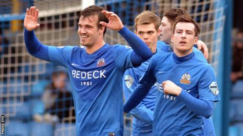 James Gray scored twice as Glenavon came from behind to beat Portstewart 4-1 in the fifth round