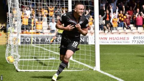 Tom Aldred in action for Motherwell