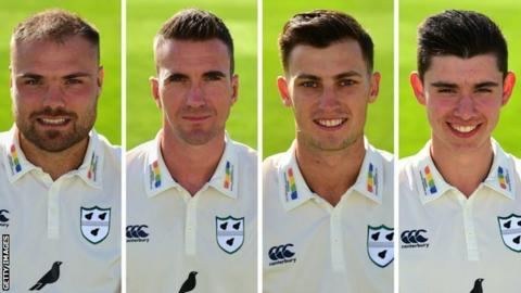The 10 Northamptonshire wickets were shared between Worcestershire's seamers (from left): Joe Leach (3-36), Jack Shantry (3-54), Ed Barnard (2-50) and Josh Tongue (2-62)