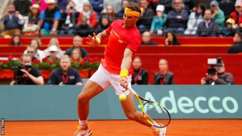 Spain's Rafael Nadal plays a forehand shot during his win in the Davis Cup quarter-finals