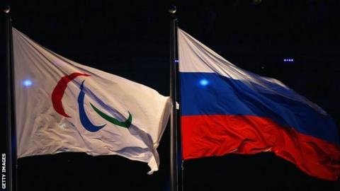 Russia flag and Paralympic flag