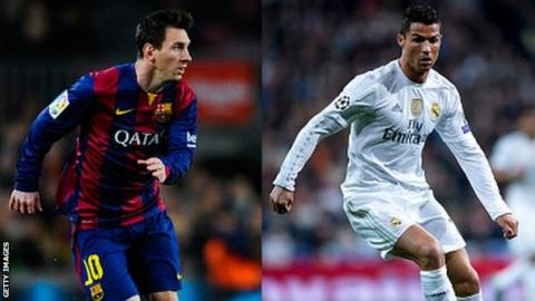 Barcelona's Lionel Messi (left) and Real Madrid's Cristiano Ronaldo