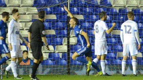 Michael Morrison celebrates his goal against Ipswich