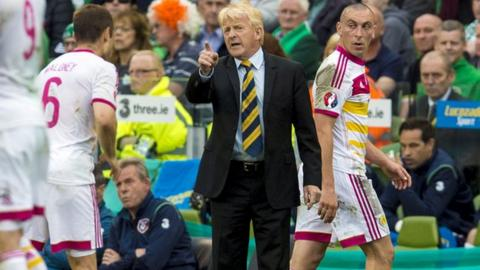 Scotland players receive instructions from coach Gordon Strachan